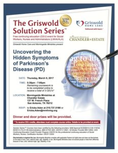 """March 9: Free Dinner & CEU: """"Uncovering the Hidden Symptoms of Parkinson's Disease"""""""